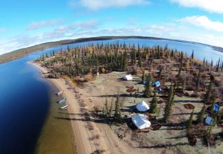 Aerial view of fish camp at Wekweètì 2016 (Photo:  Paul Vecsei, Golder Associates Ltd.)