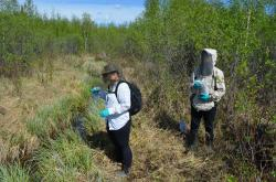 The Communications Officer, Shalyn Norrish, doing a little water sampling at one of the sites with Jessica Pacunayen, Regulatory Specialist for the WLWB, overseeing the process. Photo Credit: Brodie Costello, WLWB.